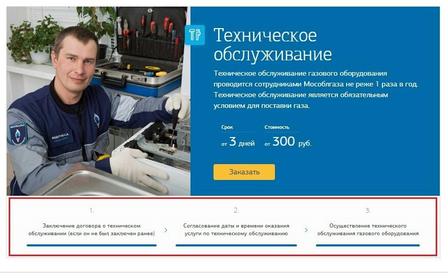 Схема предоставления услуг технического обслуживания бытового газового оборудования.